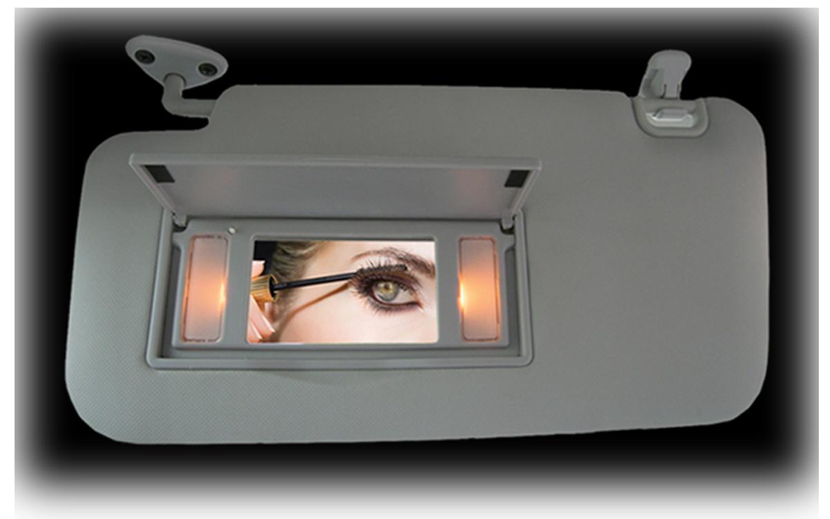 Illuminated lighted vanity mirror sun visors for 2009 for Mirror visor